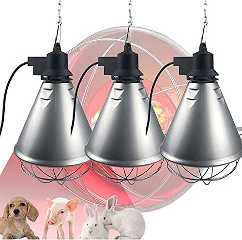 MARHD Lámpara de calor infrarroja para mascotas, emisor de lámparas de calefacción para granja de animales, temperatura ajustable, luces de calefacción de criadora para mantener calientes a los animal