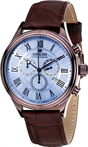 LOUIS XVI herenhorloge danton bruin blauw Romeinse cijfers chronograaf analoog kwarts echt leer bruin 564
