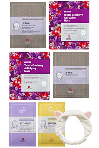 [Leaders Insolution] Full Face Facial Mask Sheet, 6 Combo Pack - Ageless Wonder Kit [Anti-Aging] with a Cat Ear Headband [2 Cotton Face Sheet Masks + 4 Coconut Gel Bio-Cellulose Face Sheet Masks]