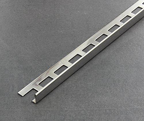 Fliesenschiene, Fliesenprofil, Winkelprofil, Edelstahl (V2A) glänzend, Länge 2,50 m 10 mm Höhe 5 Stück Setpreis