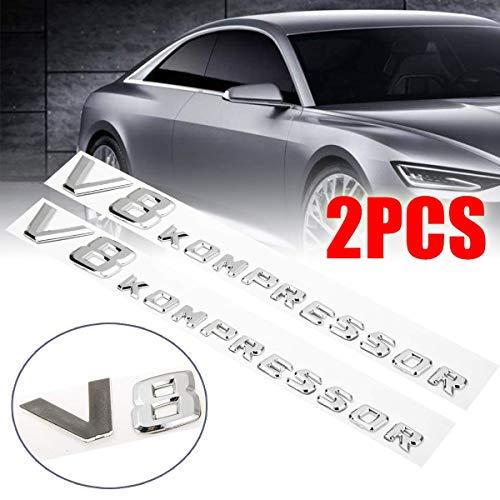3D Aufkleber Autoseite Kotflügel Buchstabe V8 Kompressor Emblem Abzeichen Dekoration für Mercedes,ABS,2PC