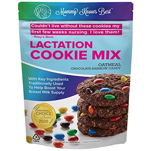 Lactation Cookies Mix - Oatmeal Chocolate Rainbow Candy Breastfeeding Cookie Supplement Support for Breast Milk Supply Increase - 16 oz