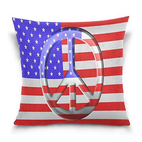 Asekngvo Throw Pillow Case Funda de cojín Decorativa Funda de Almohada Cuadrada, Bandera Americana Signo de la Paz Funda de Almohada de sofá Cama de Estrella a Rayas