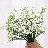 ysister 20 Piezas de Flores Artificiales Decorativas Ramo Artificial Gypsophila Flores Flores Falsas Flores de Seda para el Ramo de Novia, Bodas, librería, cafetería, decoración de Bricolaje (Blanco)