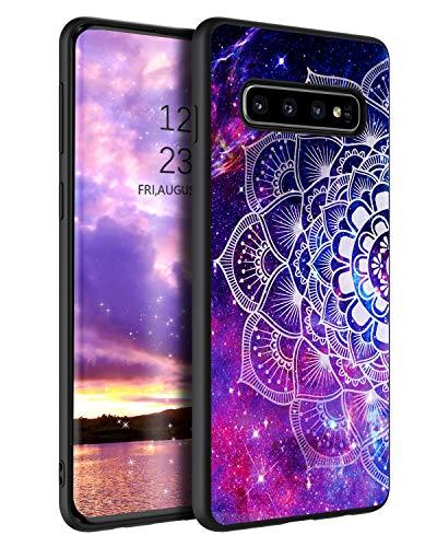 YINLAI Samsung Galaxy S10 Plus Hülle,Samsung S10 Plus Handyhülle Lila Mandala Nebula Muster mit Solider PC Schale & TPU Bumper rutschfeste Fallschutz Kratzfest Schutzhülle für Samsung S10 Plus/S10+