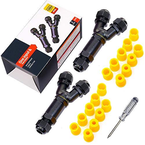 Kabelverbinder Wasserdicht Abzweigdose IP68 Verteilerdose Klemmdose für Aussen Y-Form 3-polig für Ø4-14mm Kabeldurchmesser (2 Stück)