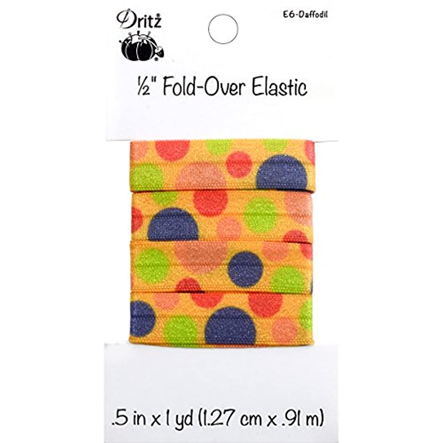 Dritz Large Dots Fold-Over Elastic, 1/2 by 1 yd, Daffodil