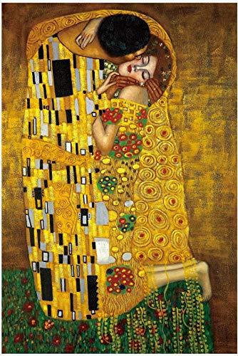 Ybjsy Holzpuzzle Berühmte Gemälde Kuss Symbolismus 1000 Tabletten Ausgangswand-Dekoration Malerei Dekomprimierung Lernspielzeug Jungen und Mädchen Puzzles Exquisite Souvenirs