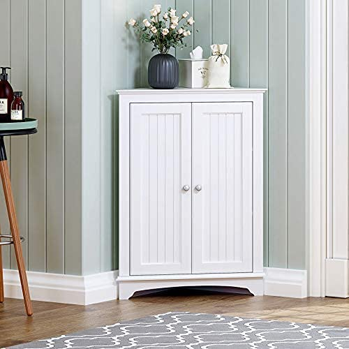 Spirich Home Floor Corner Cabinet with Two Doors and Shelves, Free-Standing Corner Storage Cabinets for Bathroom, Kitchen, Living Room or Bedroom, White