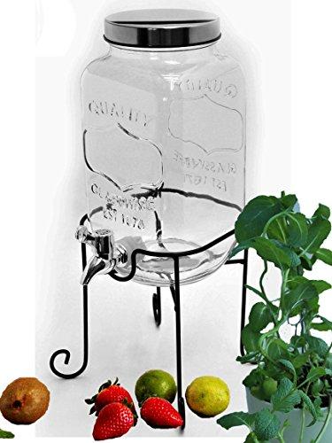 Bada Bing Getränkespender 3,5l aus Glas mit Zapfhahn und Deckel (Getränkespender 3,5L + Ständer)