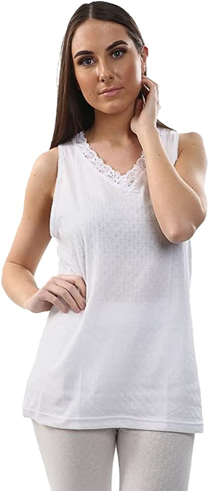 2 Pack Womens Hot Stuff Co Thermal Built Up Strap Vest White Small