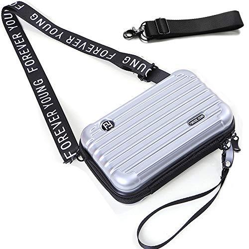 Dames Crossbody Tas - Mini Cosmetische Case Mobiele Telefoon Reizen Handtas Koffer met Polsband & Dubbele Rits - ABS + PC Harde Dames Handtas Grote Capaciteit Koppeling Modieuze Schoudertas