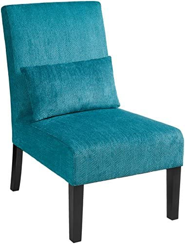 Best Roundhill Furniture Pisano Teal Blue Fabric Armless Contemporary Accent Chair with Kidney Pillow, Si