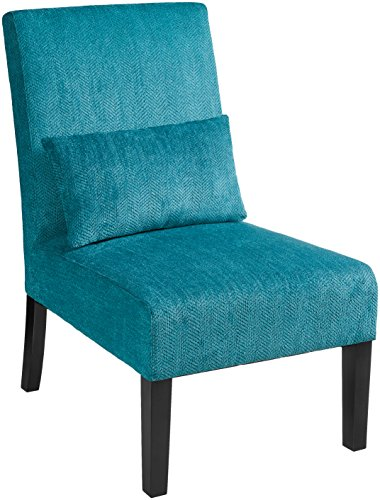 Red Hook Martina Contemporary Upholstered Armless Accent Chair with Back Pillow - Caribbean Blue