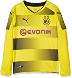 Puma, Camiseta de fútbol para niño del Borussia Dortmund, Puma, infantil, BVB Kids Long Sleeve Home Replica Shirt with Sponsor Logo, Cyber Yellow-Puma Black, 176