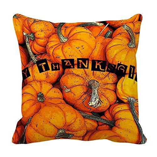 Perfecone Home Improvement - Funda de almohada de algodón con diseño de carta de agradecimiento doble con calabaza sofá y funda de almohada para coche, 1 paquete de 43 x 43 cm