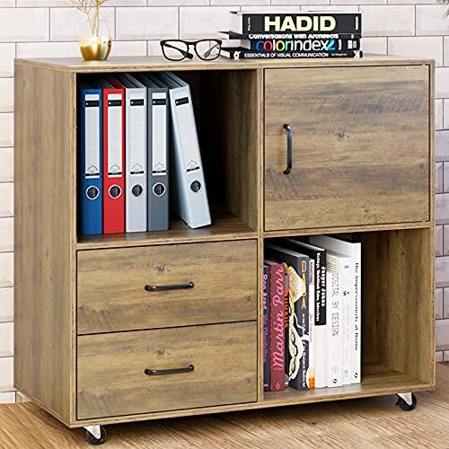 Büroschrank Aktenschrank auf Rollen Rollcontainer mit 2 Schubladen Druckerschrank Holz Mehrzweckschrank Sideboard Industriedesign Vintage Braun 75x39 x80cm