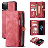 Note 9 Wallet Case,AKHVRS Handmade Premium Cowhide Leather Wallet Case,Zipper Wallet Case [Magnetic Closure]Detachable Magnetic Case & Card Slots for Samsung Galaxy Note 9 - Red