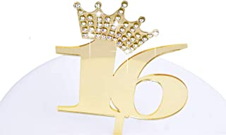YUINYO Crown Gold Glitter Gold Glitter Happy 16th Birthday Cake Topper - Forever 16 Party Favors - 16th Birthday Party Dec...