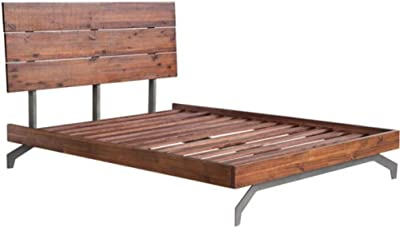 Zuo Modern 100583 Perth Queen Bed, Chestnut, Handsome Urban Rustic Bed, Support Planks