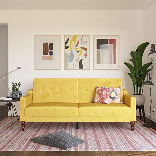 Novogratz 2373379N Beatrice Coil, Convertible Sofa Bed & Couch, Mustard Futon, Yellow