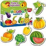 Little World Refrigerator Magnets for Toddlers Age 1 2 3 - Fridge Magnets for Kids – Large Baby Magnets – 31 Magnetic Vegetables and Fruits for Toddler Learning – Safe Kids Magnets for Children
