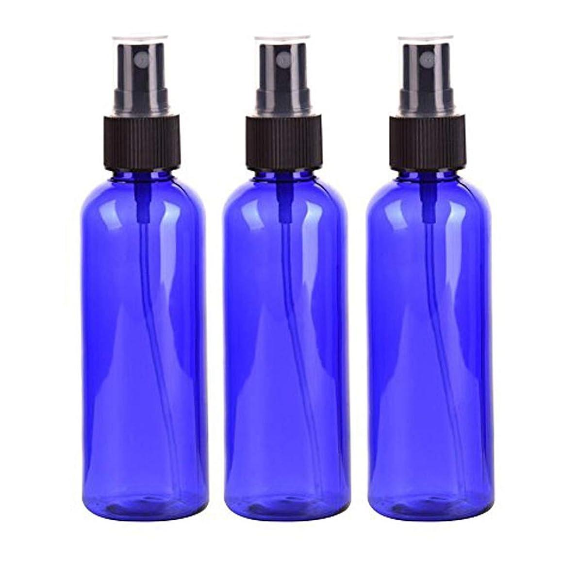 Lindexs スプレーボトル 50mL プラスチック ブルー黒ヘッド空容器 3本セット (青)