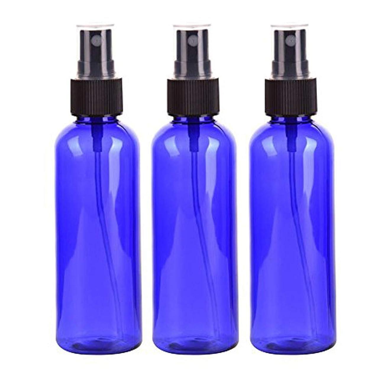 ネックレットフィルタ竜巻Lindexs スプレーボトル 50mL プラスチック ブルー黒ヘッド空容器 3本セット (青)