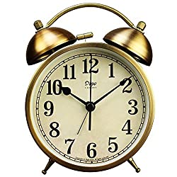 JUSTUP Twin Bell Alarm Clock, 4-Inch Table Desk Alarm Clock Battery Operated with Backlight Loud for Heavy Sleepers Bedroom (Arabic)