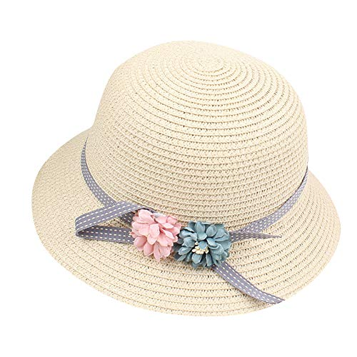 Demarkt Kids Girls Sun Hat Summer Hats Beach Hat with Garland, beige, 5CM*13CM