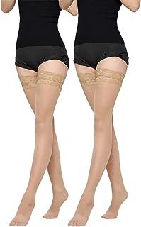 Perfeclan 2 Pairs Womens Ladies Ultrathin Sheer Lace Top Thigh High Silk Stockings