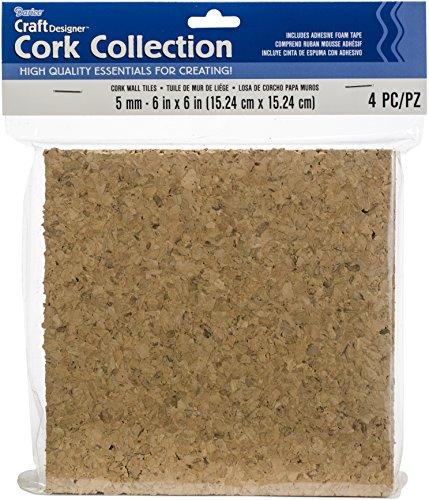 Darice Cork Collection selbstklebend Wand Fliesen, 6von 6by 5mm, 4/Pkg