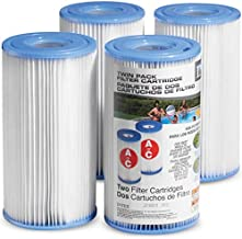 Intex Pool Filter Cartridges - Intex Cartridge Filter Type A and C For Intex Pool Filter Pumps set of (4) - Bundled with (2) SEWANTA Oil Absorbing Sponges.