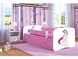 Bjird Kinderbett Jugendbett 70x140 80x160 80x180 Rosa mit Rausfallschutz Matratze Schublade und Lattenrost Kinderbetten für Mädchen - Einhorn 180 cm