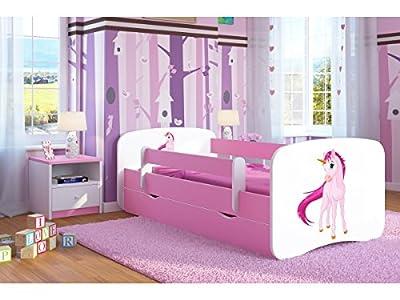 Bjird Cama Infantil 80x180 Cama para Niños Rosa con Barrera de protección contra caídas Cajones extraíbles y Base de Listones - para niñas - 180 x 80 cm Unicornio