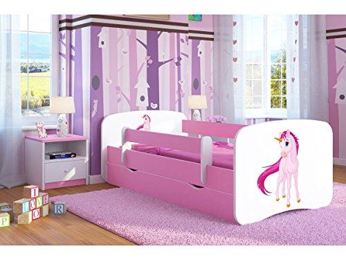 Bjird Letto per Bambini Singolo Rosa 140x70 160x80 180x80 con sponda anticaduta con barriera con cassettone Estraibile per Ragazza - Unicorno - 80 x 180 cm