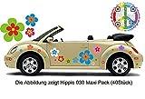Pegatina de automóvil Hippie Flores Amores y Paz Plower Power Hippie 030 (8)
