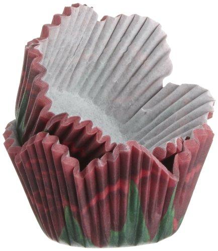 Kit 48 PIROTTINI Mini Muffin Petali di Rose Rosse Wilton Cupcake Pasta Zucchero