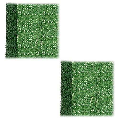 Trintion 2PCS Künstlich Efeu Sichtschutz 100x300cm Pflanzen Hängend Girlande Efeugirlande für Büro Küche Garten Party Wanddekoration