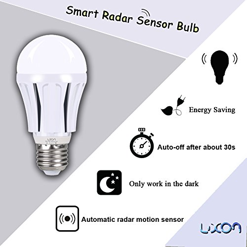Motion Sensor Light Bulb 9W Dusk to Dawn Light Bulbs E26 Base Indoor Sensor Night Lights Soft White 2700K Outdoor Radar Motion Sensor Light Bulb Auto On/Off by LUXON