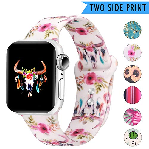 Bertiveny Rubber Band Compatible with Apple Watch Series 5 4 3 2 1 Women Silicone Band for Iwatch 38mm 40mm 42mm 44mm Double Side Pattern Wristband(Watercolor Bull Skull Flowers Feathers,38/40MM-S/M)