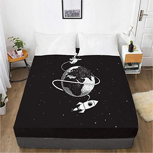 lhmlyl Bed Sheet 3D Bed Sheet Bedspread Mattress Protector Aerospace Cartoon-Space 016-Black-F_183X214X40Cm