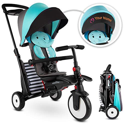 smarTrike STR5 Triciclo Pieghevole per Bambini di 1,2,3 Anni con Ricamo Personalizzato Gratuito - 7 in 1 Trike Multistadio (Blue)