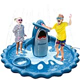SuSenGo Splash Pads Sprinkler for Toddlers, Large Size 74.8' Splash Mat Pool Kids Summer Outdoors Toys Inflatable Water Toys (Stereo Shark)