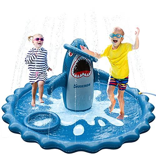 SuSenGo Splash Pads Sprinkler for Toddlers, Large Size 74.8 Splash Mat Pool Kids Summer Outdoors Toys Inflatable Water Toys (Stereo Shark)