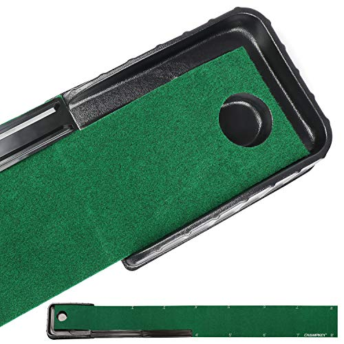 Champkey GL Golf Putting Mat - Automatic Ball Return Golf Putting Green - Alignment & Distance Training Mat Gift for Home, Office, Outdoor Use