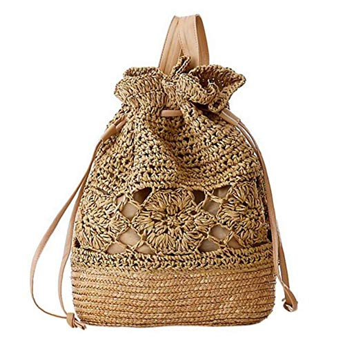 Dwqlx Verano Con Cordón De Ganchillo De Paja Bolsos De Playa Diseñador Mujer Hollow Out Flor Hecho Punto Mochila Hecha A Mano @ B
