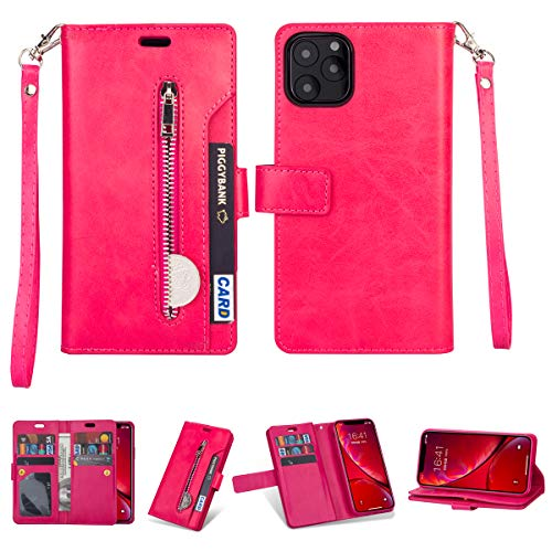 FOLICE iPhone 11 Pro Zipper Wallet Case, [Magnetic Closure] 9 Card Slots, PU Leather Kickstand Wallet Cover Durable Flip Case for Apple iPhone 11 Pro 5.8inch 2019 (Rosered)