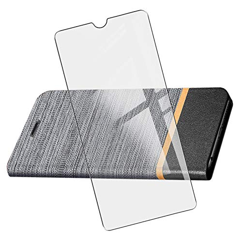 KJYF Funda para OPPO Realme C21 (6.50'), Silicone Case + Cristal Templado Protectores Definicion Alta Protector Pantalla, Soporte Plegable PU Cuero Flip Cover Prueba de Arañazos Caso - Gray