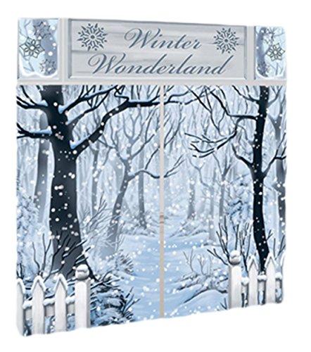 Party Palast - Weihnachtsdekoration Wandsticker Klebebild Poster Aufkleber Winterlandschaft, 5-teilig, Blau